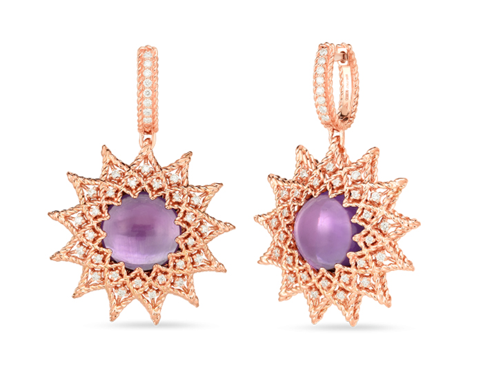 Roberto Coin Roman Barocco Collection amethyst and round brilliant cut diamond earrings in 18k rose gold.
