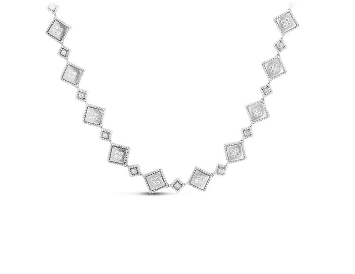 Roberto Coin Palazzo Ducale collection round brilliant cut diamond necklace in 18k white gold.