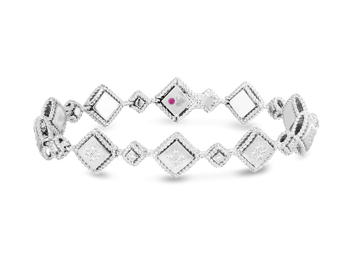 Roberto Coin Palazzo Ducale collection round brilliant cut diamond bracelet in 18k white gold.