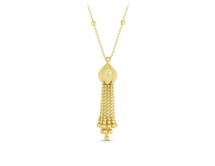 Roberto Coin Princess collection round brilliant cut diamond necklace in 18k yellow gold.