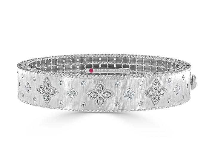Roberto Coin Venetian Princess collection diamond bracelet in 18k white gold.