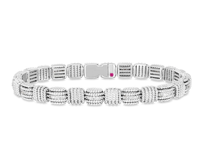 Roberto Coin Opera collection round brilliant cut diamond bracelet in 18k white gold.