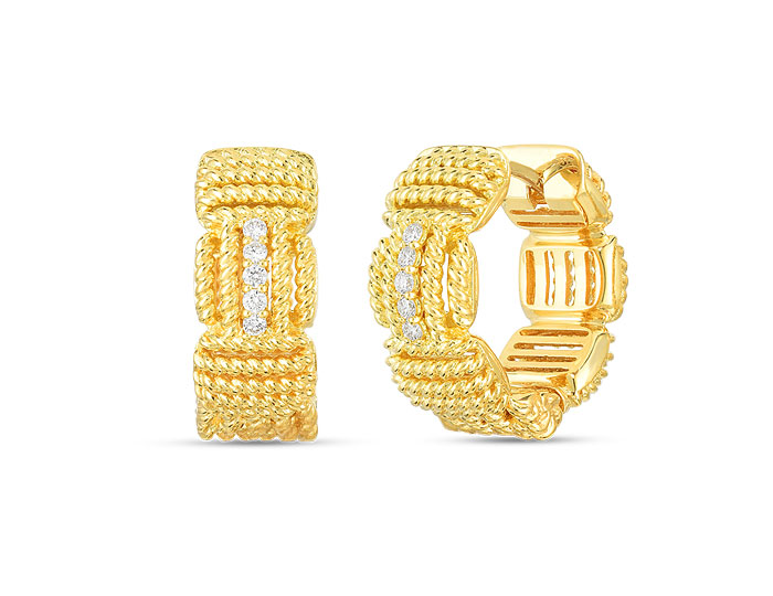 Roberto Coin Opera collection round brilliant cut diamond hoop earrings in 18k yellow gold.