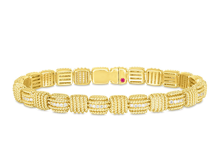Roberto Coin Opera collection round brilliant cut diamond bracelet in 18k yellow gold.