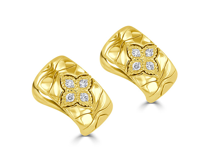 Roberto Coin Royal Princess Flower collection round brilliant cut diamond earrings in 18k yellow gold.