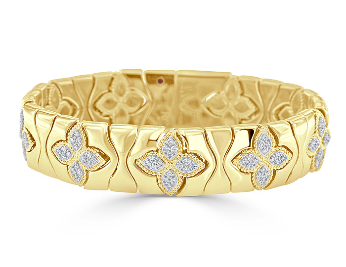 Roberto Coin Princess Flower collection diamond bracelet in 18k yellow gold.