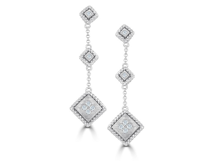 Roberto Coin Palazzo Ducale collection round brilliant cut diamond earrings in 18k white gold.