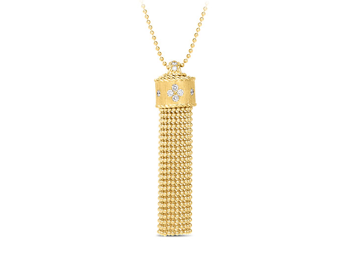 Roberto Coin Princess Tassel collection round brilliant cut diamond tassel necklace in 18k yellow gold.