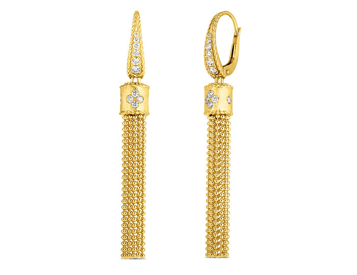 Roberto Coin Princess Tassel collection round brilliant cut diamond tassel earrings in 18k yellow gold.