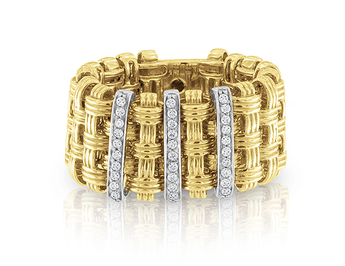 Roberto Coin Appassionata Collection round brilliant cut diamond ring in 18k yellow and white gold.