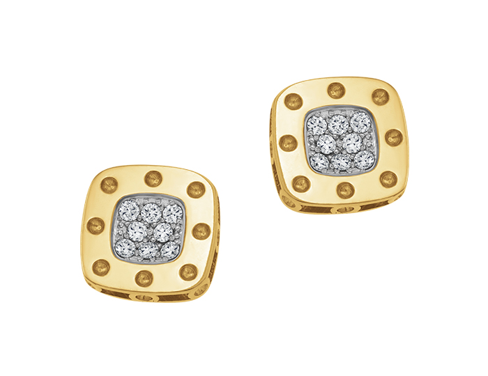 Roberto Coin Pois Mois Collection round brilliant cut diamond earrings in 18k yellow and white gold.