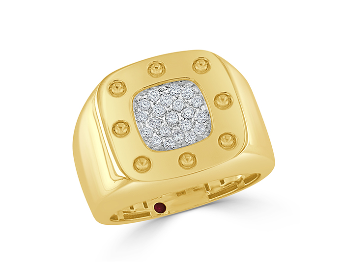 Roberto Coin men's round brilliant cut diamond ring in 18k yellow gold.