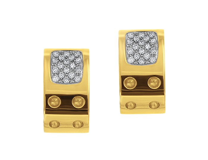 Roberto Coin Pois Moi Collection round brilliant cut diamond earrings in 18k yellow gold.