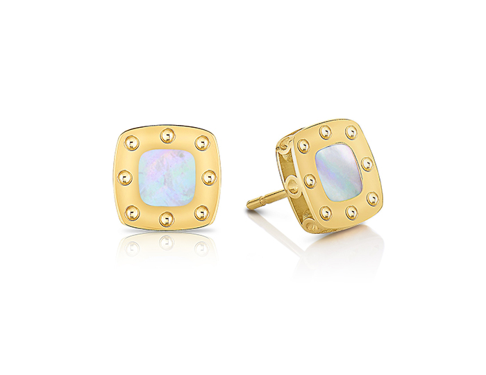Roberto Coin Pois Mois Collection mother-of-pearl earrings in 18k yellow gold.