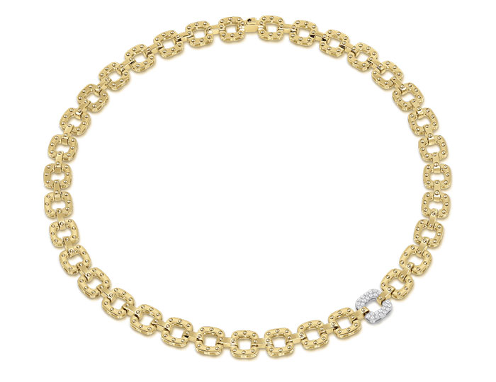 Roberto Coin Pois Moi collection diamond necklace in 18k yellow gold.
