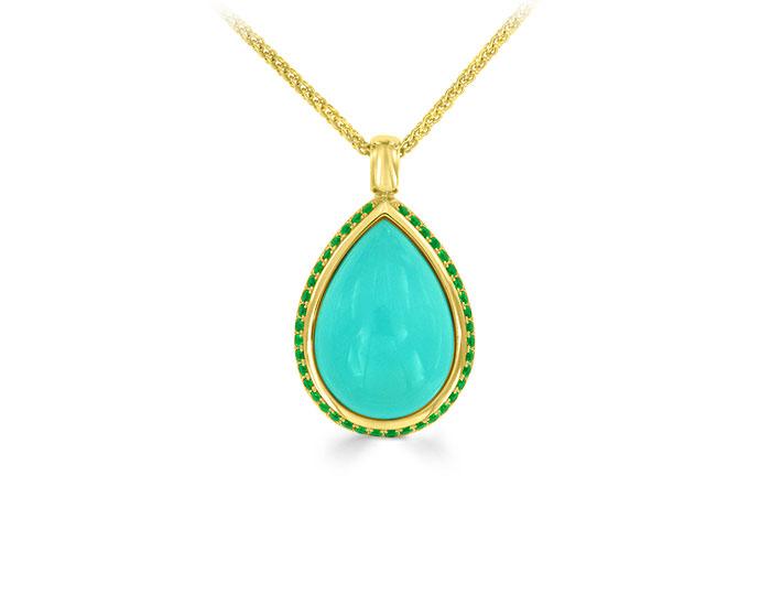 Turquoise and tsavorite garnet pendant in 18k yellow gold.