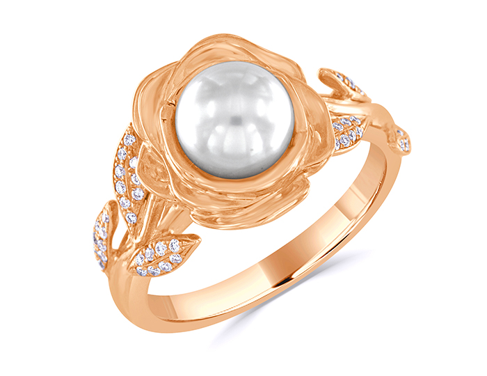 Cultured pearl and round brilliant cut diamond ring in 18k rose gold.