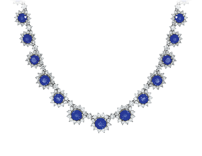Sapphire and round brilliant cut diamond necklace in 18k white gold.