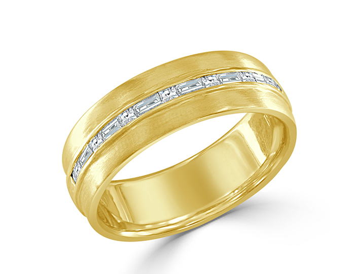 Bez Ambar men's baguette and blaze cut diamond wedding band in 18k yellow gold.
