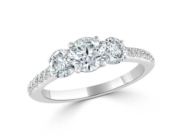 Bez Ambar round brilliant cut diamond engagement ring in platinum.