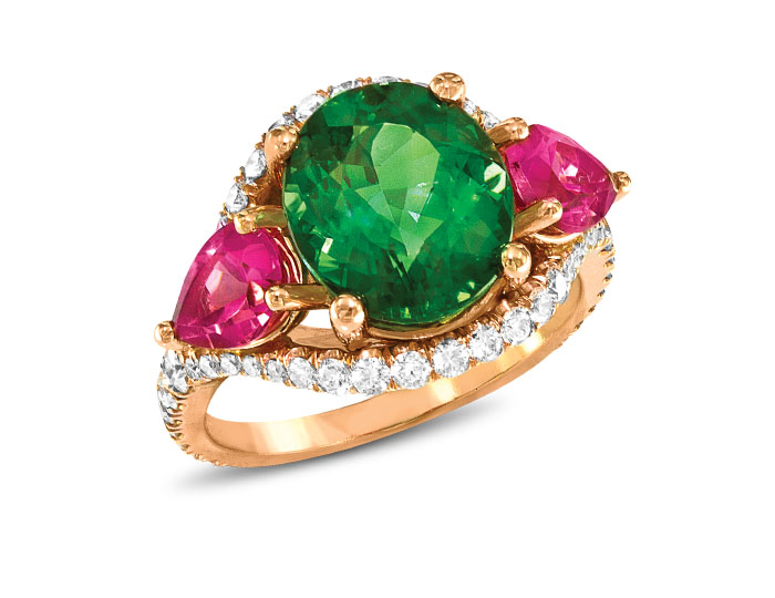 Pink and greek tourmaline and round brilliant cut diamond ring in 18k rose gold.