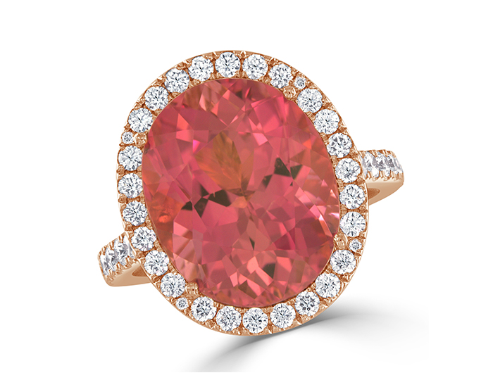 Pink tourmaline and round brilliant cut diamond ring in 18k rose gold.