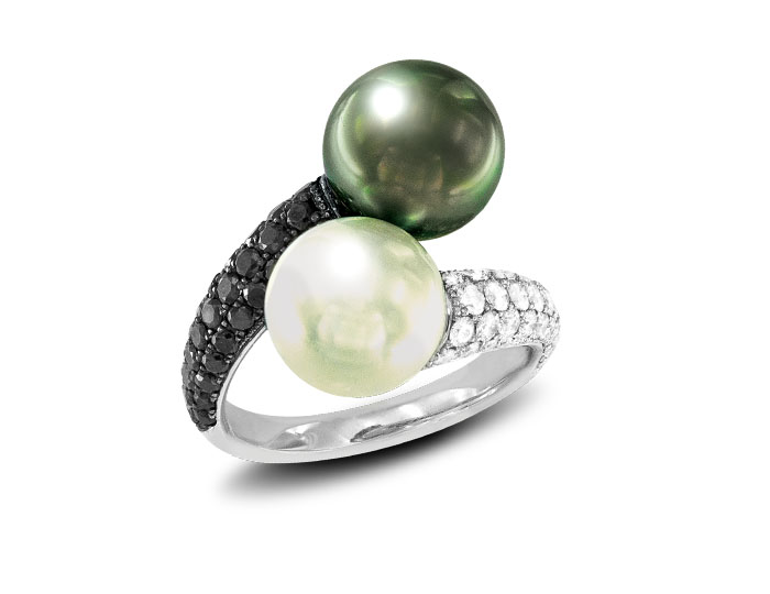 Tahitian and south sea pearl ring with black and white diamonds in 18k white gold.