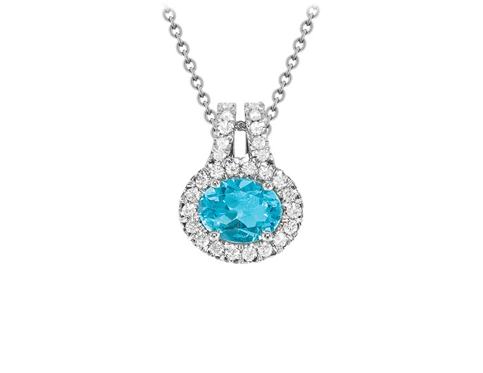 Blue topaz and round brilliant cut diamond pendant in 18k white gold.
