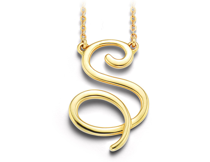 """14k yellow gold initial """"S"""" necklace."""