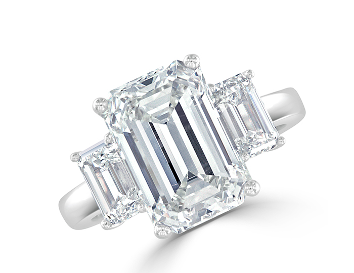 Emerald cut diamond engagement ring in platinum.