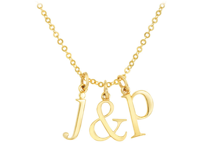 Initial necklace in 14k yellow gold.