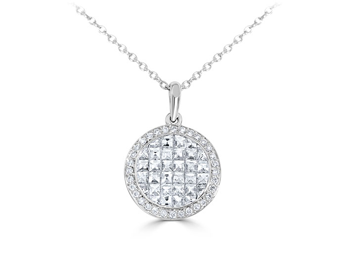 Blaze cut and round brilliant cut diamond pendant in 18k white gold.