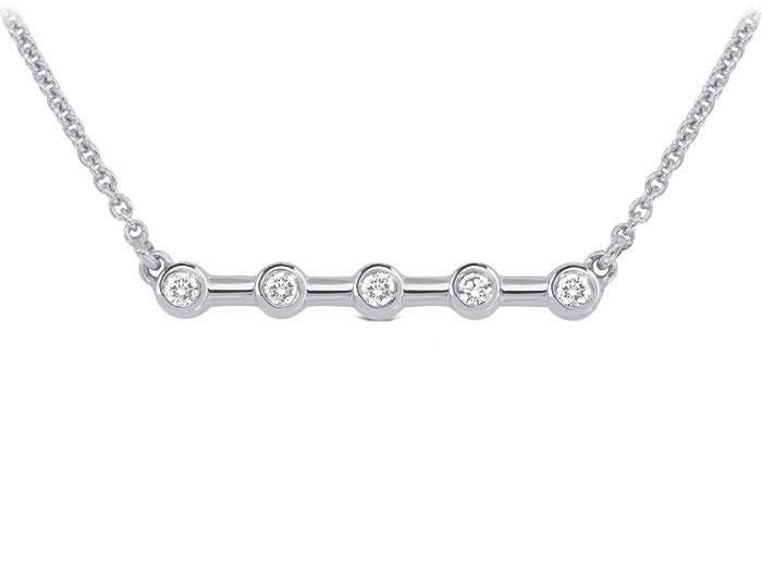 Round brilliant cut diamond necklace in 18k white gold.