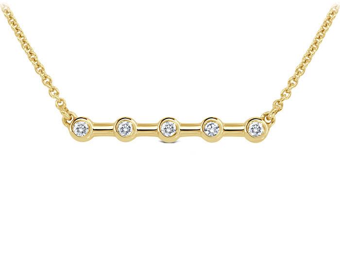 Round brilliant cut diamond bar necklace in 18k yellow gold.
