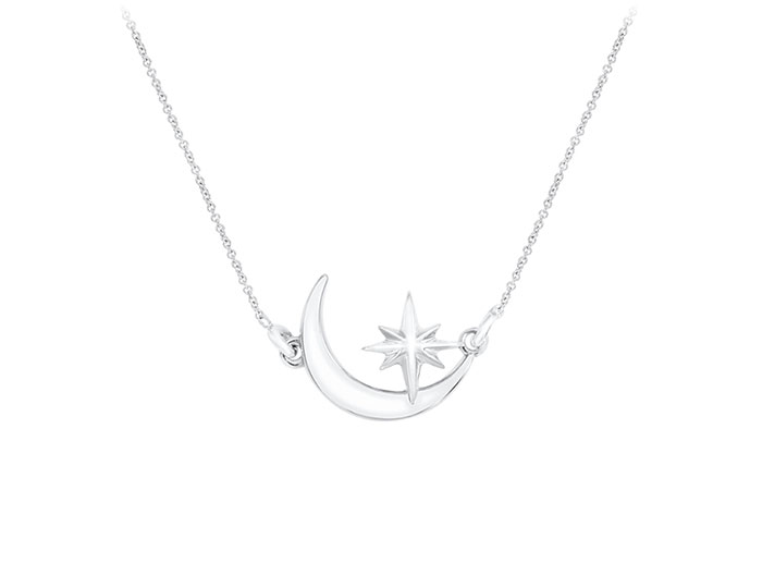 Star and moon necklace in 18k white gold.