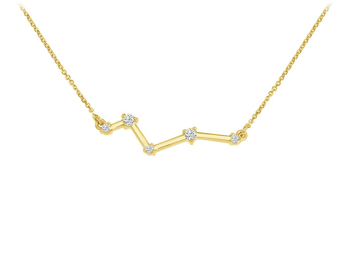 Round brilliant cut necklace in 18k yellow gold.