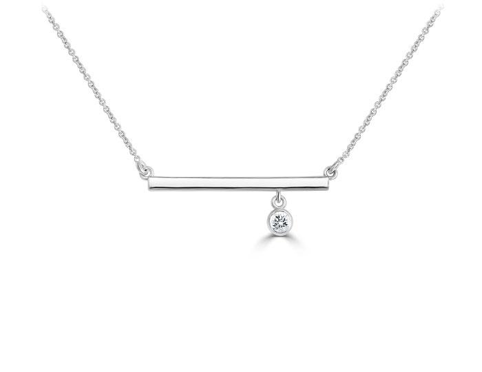 Round brilliant cut diamond dangle bar necklace in 18k white gold.