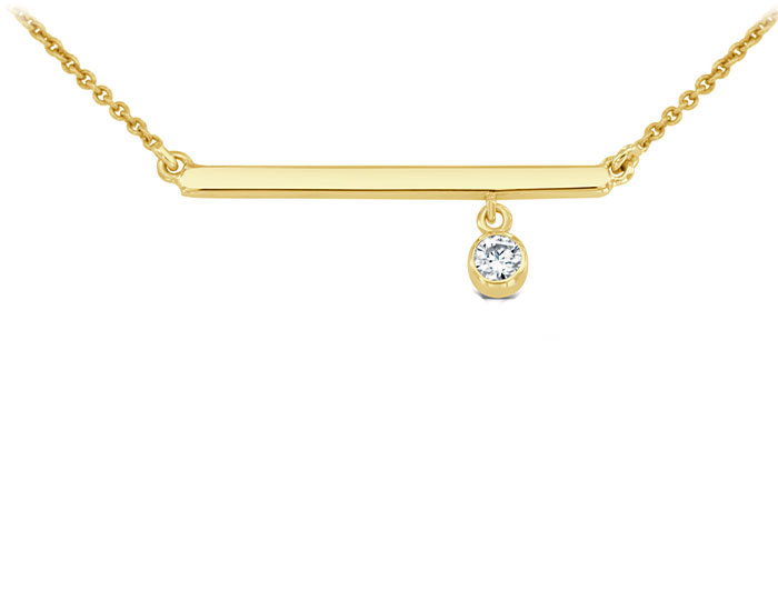 Round brilliant cut diamond bar necklace in 18k yellow gold.