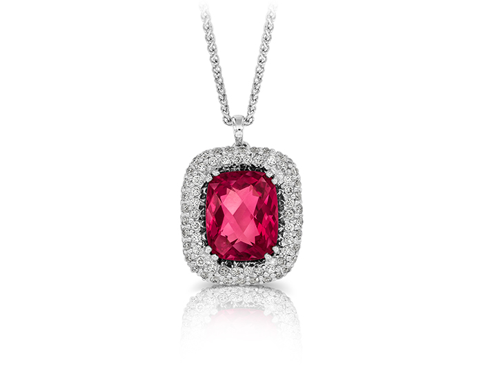 Pink tourmaline and round brilliant cut diamond pendant in 18k white gold.