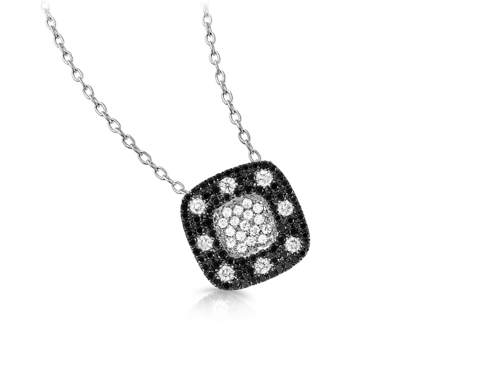 Roberto Coin Pois Moi Collection round brilliant cut black and white diamond pendant in 18k white gold.
