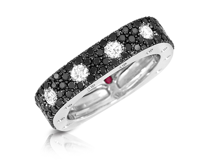 Roberto Coin Pois Moi Collection round brilliant cut black and white diamond pavé ring in 18k white gold.