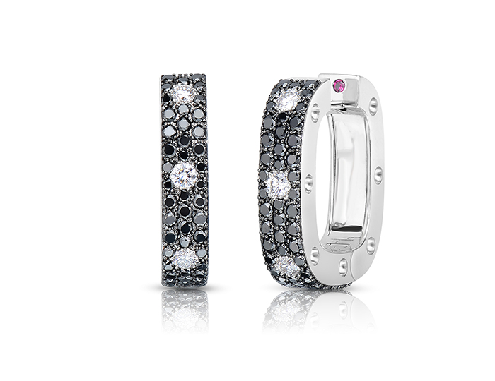 Roberto Coin Pois Moi Collection round brilliant cut black and white diamond pavé earrings in 18k white gold.