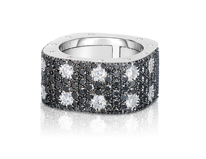 Roberto Coin Pois Moi collection white and black diamond band in 18k white gold.