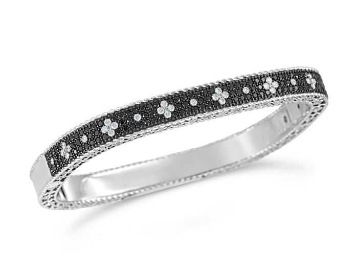 Roberto Coin Princess Collection round brilliant cut black and white diamond pave bracelet in 18k white gold.