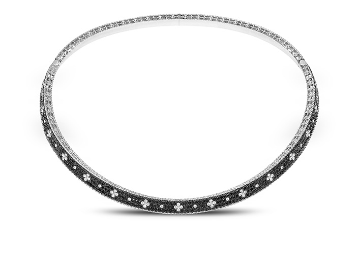 Roberto Coin Princess Collection round brilliant cut white and black diamond necklace in 18k white gold.