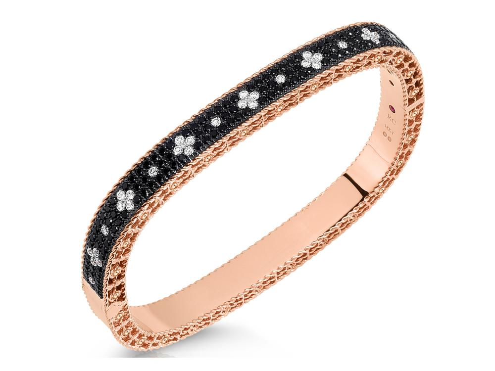 Roberto Coin Venetian Princess Collection round brilliant cut black and white diamond bracelet in 18k rose gold.