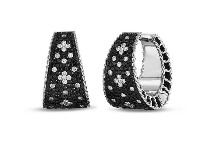 Roberto Coin Princess Collection round brilliant cut black and white diamond pave earrings in 18k white gold.