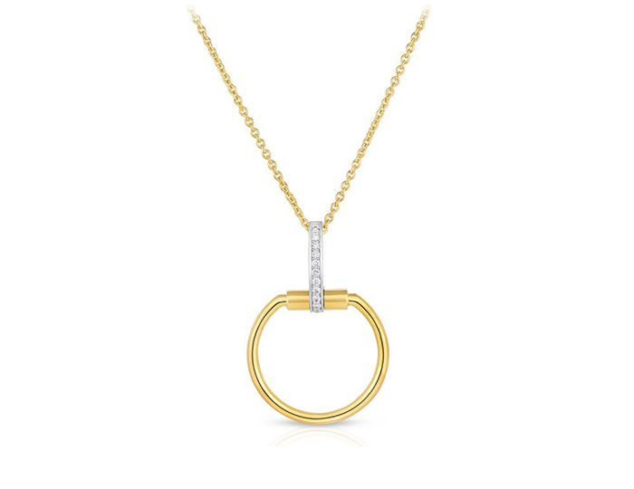Roberto Coin Classica Parisienne Collection round brilliant cut diamond pendant in 18k yellow gold.