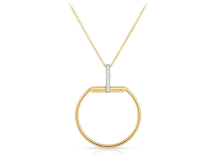 Roberto Coin Classica Parisienne Collection round brilliant cut diamond necklace in 18k yellow gold.