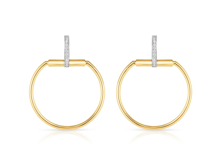 Roberto Coin Classica Parisienne Collection round brilliant cut diamond earrings in 18k yellow gold.